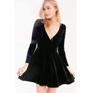 Kimchi Blue black velvet surplice mini dress